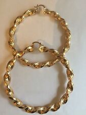 SUPER EX GRANDI ORO Greco Chiave a trama grossa 80mm Diametro Gold Filled Twisted Hoop Orecchini