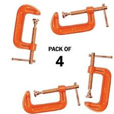"""PACK OF 4 CAST IRON 4"""" 100 MM G CLAMPS WOOD WORKING WELDING CRAMPS COPPER PLATED"""