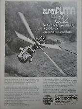 1980 PUB AEROSPATIALE HELICOPTERE AS 332 SUPER PUMA ALAT ORIGINAL FRENCH AD