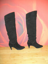 Superb vintage black leather suede Slouch boots UK 4