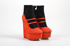 "Charlotte Olympia NIB Black Red ""Gretel"" Platform Wedge Boot SZ 38"