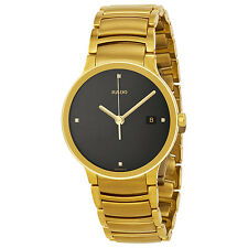 Rado Centrix Jubile Black Diamond Dial Gold-Plated Stainless Steel Mens Watch