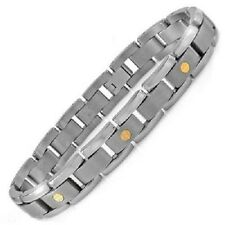 "Men's Solid Titanium Link Bracelet with Gold Screw Design 8.5"" 13mm 30g"