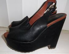 Dolcetta by Dolce Vita Black Slingback Wedge-Loafer Faux Leather Women's 8.5