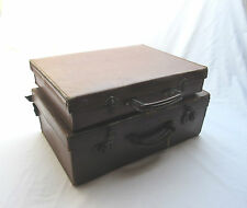 vintage retro old small brown suitcases storage display boxes x2 .