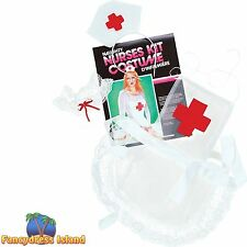 NAUGHTY NURSE KIT INC HAT/APRON/GARTER - womens ladies fancy dress accessory