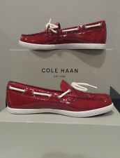 NEW Cole Haan Nantucket Camp MOC Women's MED RED Patent Leather Shoes SIZE 8.5
