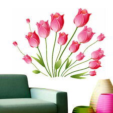 Wall Stickers Living Room Flower Pink Tulips Bouquet 5799