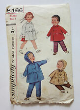 Simplicity vintage sewing pattern S.166 - Toddler size 1 - chest 19 - 22 ins
