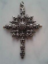 Croix ancienne régionale argent massif vermeil et diamants taille rose XIXème