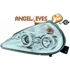 Coppia fari fanali anteriori TUNING FORD KA 96-08 chrome con anelli ANGEL EYES d