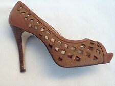New Pilar Abril Brown Calf Hair Peep Toe Chiara Heels - 8.5 (39EU)