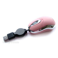 Mini Optical USB Retractable Notebook Mouse For PC Laptop Windows 7 - PINK