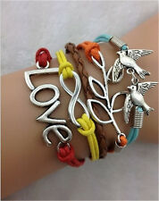 NEW Infinity Love Peace Dove Friendship Plated Silver Leather Charm Bracelet
