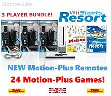 Wii Nintendo Console 3 PLAYER Bundle, 3x Motion Remotes, Wii Sports Resort Games