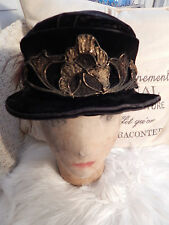 Antique French Edwardian Teens Velvet Hat Ostrich Feathers Millinery