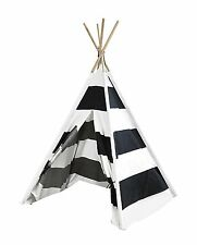 Heritage Kids Black and White Striped Deluxe Teepee Play Tent NEW NIB