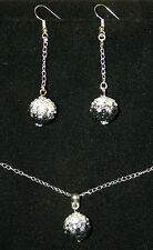 "3 pc Set Shamballa Crystal Ball Silver Pendant Necklace Earrings 20"" Jewelry"