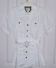 NWOT COTTON EXPRESS WOMEN'S BELTED BLOUSE TUNIC TOP FITTED RUCHED WHITE SIZE XL