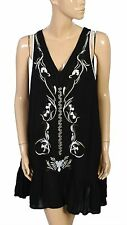 131613 New Free People Crazy For Love Floral Embroidered Black Tunic Dress S
