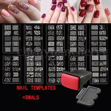 10 Design Set Nail Art Polish Manicure Image Stamping Template Plate Scraper US
