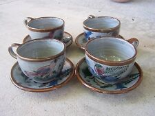 1970s Beautiful Dark Gray Set of 4 Teacups/Saucers, Maroon Birds - Tonala Mexico