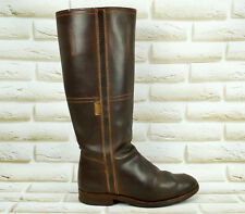 VALVERDE DEL CAMINO Brown All Leather Womens Mid High Long Boots Size 3 UK 36 EU