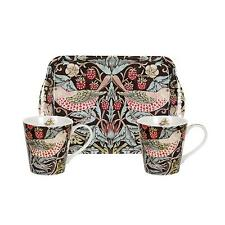 Pimpernel Strawberry Thief Brown 2 Porcelain Mugs 1 Melamine Tray William Morris