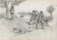 EARLY TRAPPERS WITH NATIVE AMERICANS Pencil Drawing c1860 HENRY PERCY BEAUSIRE