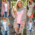 Boho Womens Long Sleeve Knitted Cardigan Loose Sweater Outwear Jacket Coat Tops#