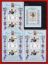 ANGUILLA 1981 PRINCESS DIANA WEDDING x4 S/S MNH A-AL