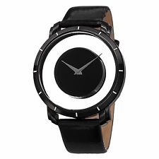 Men's Akribos XXIV AK412BK Quartz Black Exhibition Dial Leather Strap Watch
