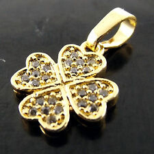 A665 GENUINE REAL 18K YELLOW G/F GOLD FOUR LEAF GLOVER DIAMOND SIMULATED PENDANT