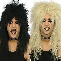 80s Rocker Wig Black Blond Wig Adult Heavy Metal Slash Kiss Punk Fancy Dress WIG