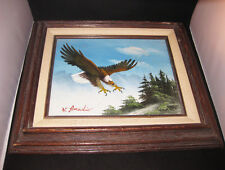 W. Amadio Eagle Oil Painting On Canvas Framed Signed By Artist