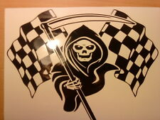 grim reaper race flag stock car racing vinyl graphic sticker bonnet side rear vw