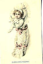 16276 Kitsch AK, Neujahrsgruß, Kind mit Glas, Schleifen um 1915