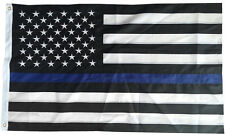 2x3 FT Thin Blue Line American Police Flag Embroidered Stars Sewn Stripes Black