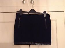 Black Maje Mini Skirt With Leather Effect Trim Size 36