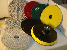 5 inch Diamond Polishing Pads Wet/Dry Set Granite Concrete Marble Stone 10 Piece