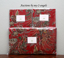 NEW Pottery Barn ADELA VELVET Print Paisley King Duvet + 2 King Shams RED NWT