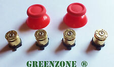 Replacement Brass Bullet Buttons For PS4 Controller & Red Thumbsticks Mod Kit
