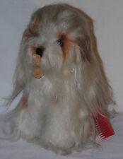 """Vintage 1960s DAKIN Japan Lhasa Apso Plush Dog Stuffed Toy 12"""" Tall White/Brown"""