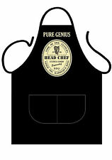 """ICONIC APRONS,MENS/WOMENS,BLACK PRINTED NOVELTY APRON,SUMMERS BBQ,""""PURE GENIUS"""""""