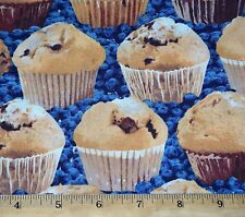 """Muffins Blueberry Fabric Fat Quarter 100% Cotton """"In the Mix"""" Dessert Food Bake"""