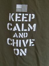 KEEP CALM AND  CHIVE ON STENCILED USA FLAG CHEST TSHIRT TAN Lg KCCO CHIVE.COM