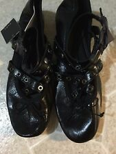 ZARA BLACK LEATHER BALLET FLATS WITH STRAPS AND STUDS SIZE US 9