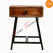 SideSide Table Industrial Bed Side Nightstand Vintage Look Industrial Furniture