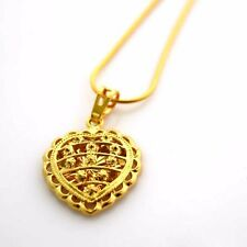 """24K Yellow Gold Filled Pendant Necklace Heart Love 18""""chain Link GF Jewelry Pop"""