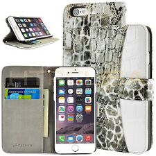 For Apple iPhone 6 Black Gray Crocodile Luxury Card Wallet Flip Case Cover